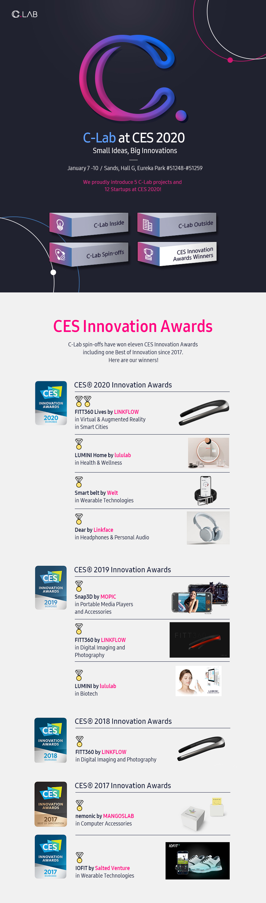 C-Lab at CES 2020. Small Ideas, Big Innovations. January 7-10 / Sands, Hall G, Eureka Park #51248-#51259. We proudly introduce 5 C-Lab projects and 12 Startups at CES 2020! CES Innovation Awards. C-Lab spin-offs have won eleven CES Innovation Awards including one Best of Innovation since 2017. Here are our winners! CES 2020 Innovation Awards. FITT360 Lives by LINKFLOW in Virtual & Augmented Reality in Smart Cities. LUMINI Home by lululab in Health & Wellness. Smart belt by Welt in Wearable Technologies. Dear by Linkface in Headphones & Personal Audio. CES 2019 Innovation Awards. Snap3D by MOPIC in Portable Media Players and Accessories. FITT360 by LINKFLOW in Digital Imaging and Photography. LUMINI by lululab in Biotech. CES 2018 Innovation Awards. FITT360 by LINKFLOW in Digital Imaging and Photography. CES 2017 Innovation Awards. Nemonic by MANGOSLAB in Computer Accessories. IOFIT by Salted Venture in Wearable Technologies.