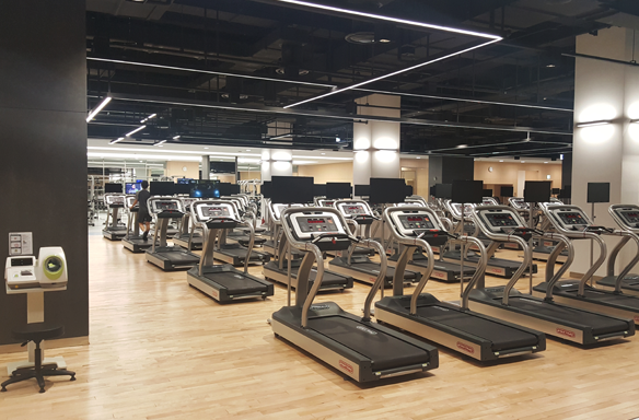 It is the fitness center inside the company. There are many treadmills.
