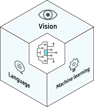 AI Core Algorithms - In the center is the AI icon with icons showing Vision, Language, and Machine Learning, around it.