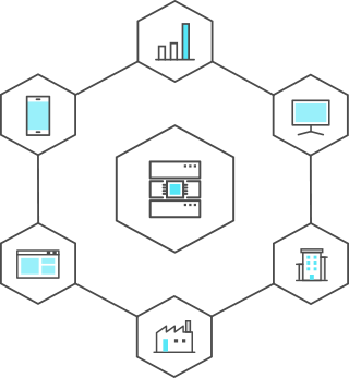 Technologies for Data Acquisition, Processing and Infrastructure - It is an icon showing Data Science with hexagonal shapes.