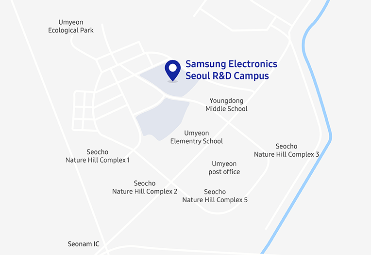 It is a map of the Samsung Electronics Seoul R&D Campus.