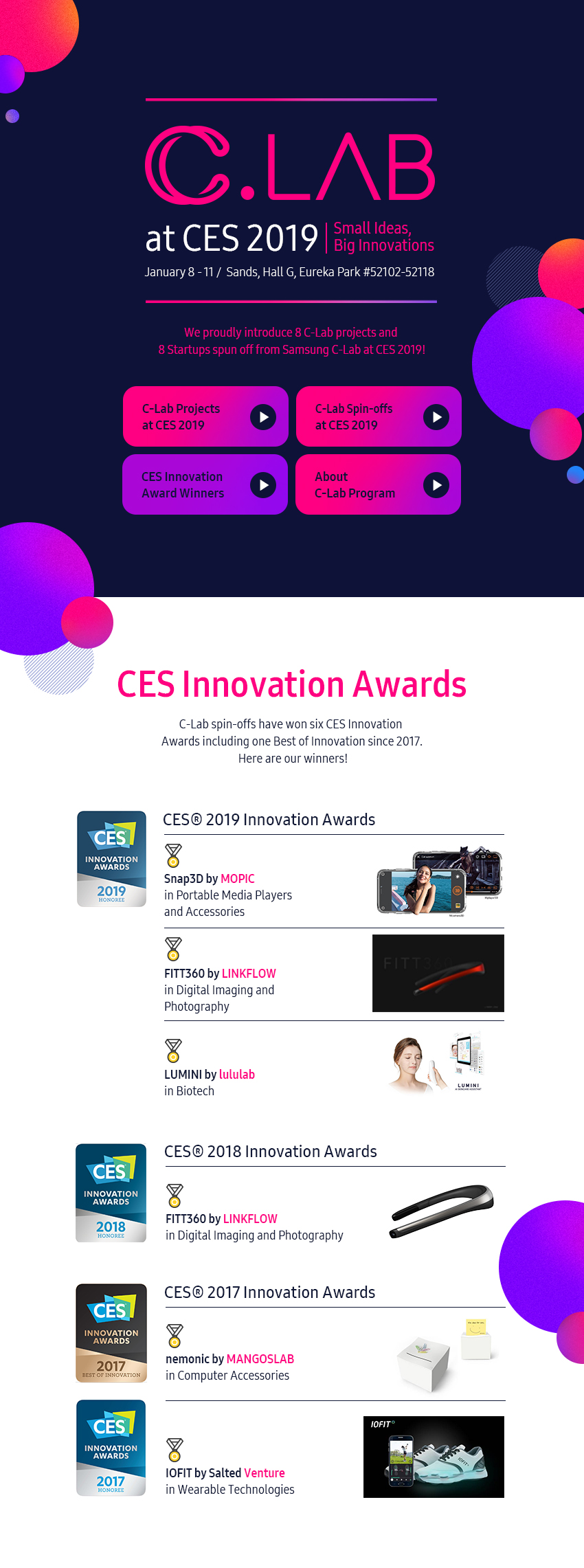 CES Innovation Award Winners